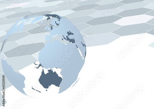 Earth globe over geometrical background