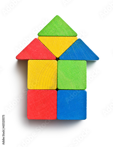 house made from wooden toy blocks