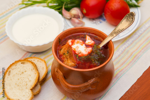 Ukrainian soup and bread