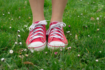 Vintage red shoes in green grass