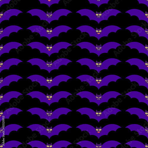 Seamless pattern with funny evil bats