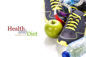 Different tools for sport and healthy food