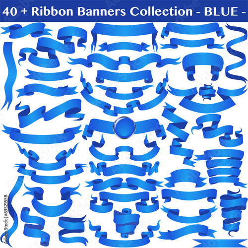 Blue Ribbon Banners Collection on white.
