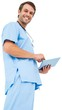 Handsome surgeon in blue scrubs using tablet pc