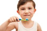 Child brushing teeth isolated