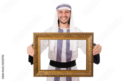 Young arab with picture frame on white