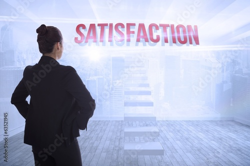 Satisfaction against city scene in a room