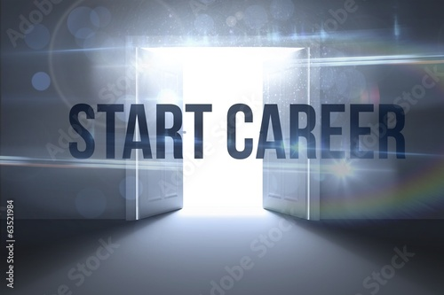 Start career against doors opening revealing light