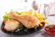 roast chicken leg and fries