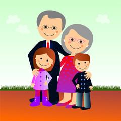 Abuelos y nietos en el parque