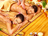 Fototapety Man and woman relaxing in spa.