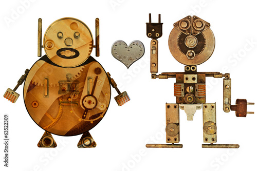Lovers robots isolated on white background