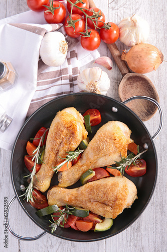 chicken leg and vegetable