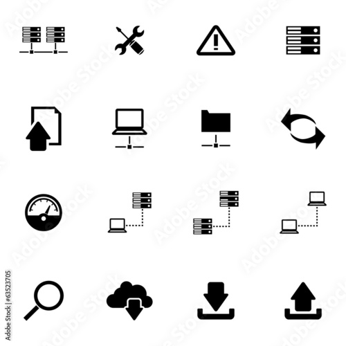 Vector black FTP icon set