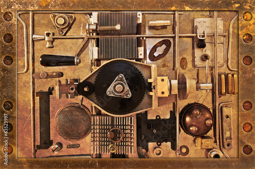 Abstract background of a variety of metal parts