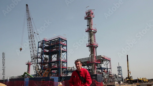 Refinery Workers Inside Oil and Gas Installation.