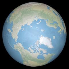 Mondo terra globo artide, polo nord, cartina in rilievo