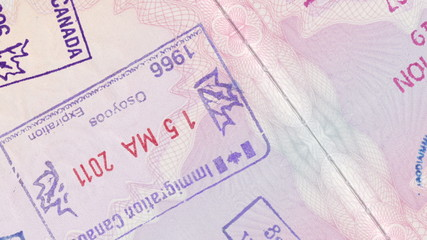 Animation Panning Over Stamps In A European Passport