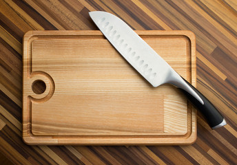 knife and  carving board