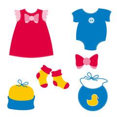 baby clothing - dress, play suit, socks, cap, bib, ribbon