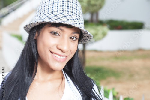 Attractive brazilian woman with hat