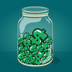 Glass jar with money vector EPS-10.