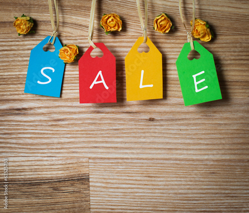 "Multicolor  tags lettering ""sale"""