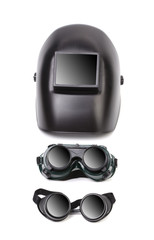 Welding mask and two glasses.