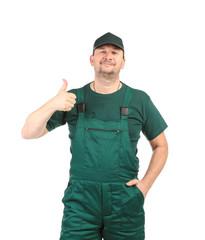 Man in green uniform.