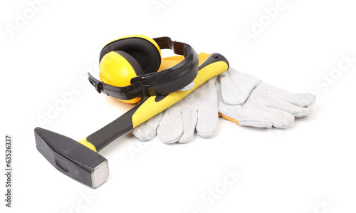 Ear protectors, hammer and gloves.