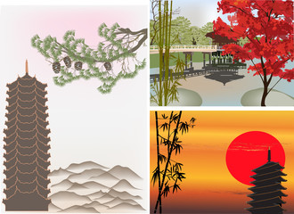 three differen pagoda landscapes