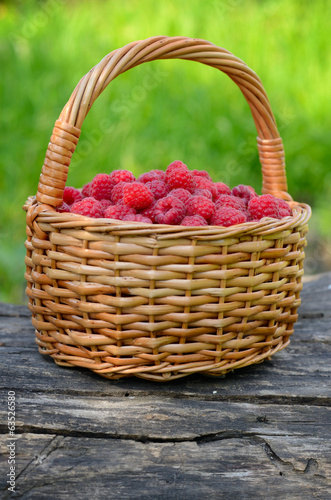 Raspberries in the basket