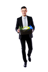 Happy businessman hold box with personal belongings