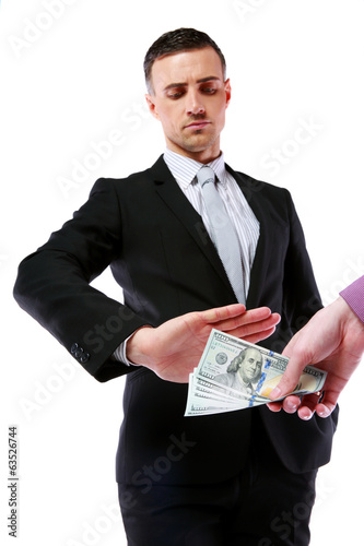 a uncorrupted businessmen refusing money from a bribe