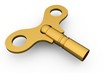 Digitally generated shiny gold key