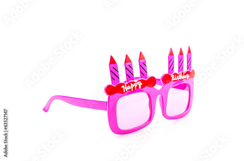 Happy birthday sunglasses isolated white background