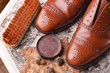 canvas print picture - Brown shoes