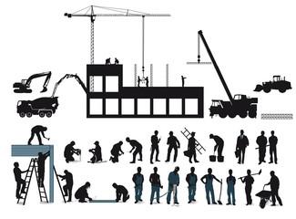 Bauobjekt mit Bauarbeitern