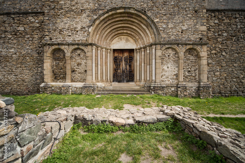 Romanesque church entrance. Cisnadioara, Romania