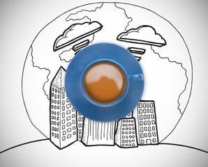 Composite image of blue cup of coffee