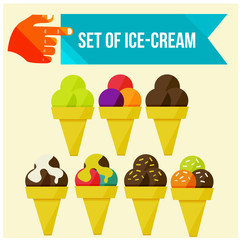set of ice cream horns