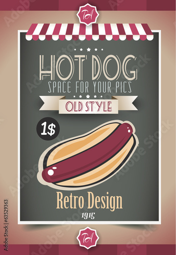 Vintage HOT DOG poster template