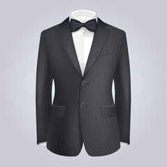 Male Clothing Stiped Dark Suit with Bow Tie. Vector