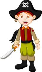 Cartoon pirate kid with sword