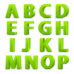 Big green letters standing