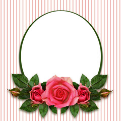 .Rose flowers composition and oval frame