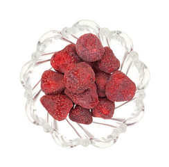 Dried Strawberries In Bowl Top View