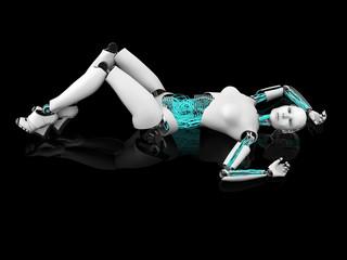 Sexy robot woman posing on the floor nr 1.