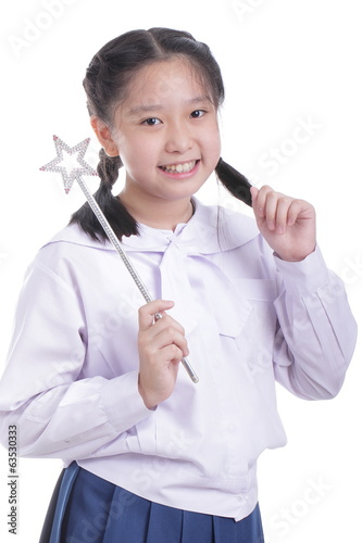 Student girl hold magic wand
