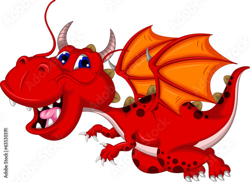 funny red dragon cartoon flying